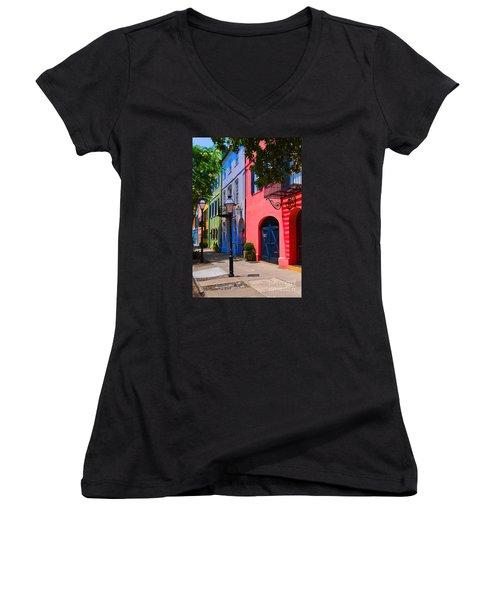 Rainbow Row Charleston Women's V-Neck T-Shirt (Junior Cut) by Skip Willits