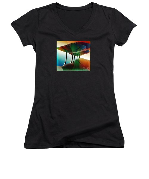 Rainbow Trees Women's V-Neck (Athletic Fit)
