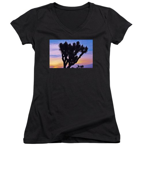 Women's V-Neck T-Shirt (Junior Cut) featuring the photograph Rainbow Yucca by Angela J Wright