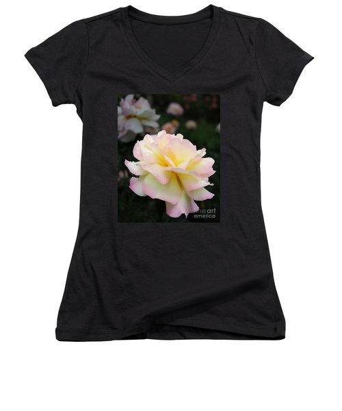 Women's V-Neck T-Shirt (Junior Cut) featuring the photograph Raindrops On Rose Petals by Barbara McMahon