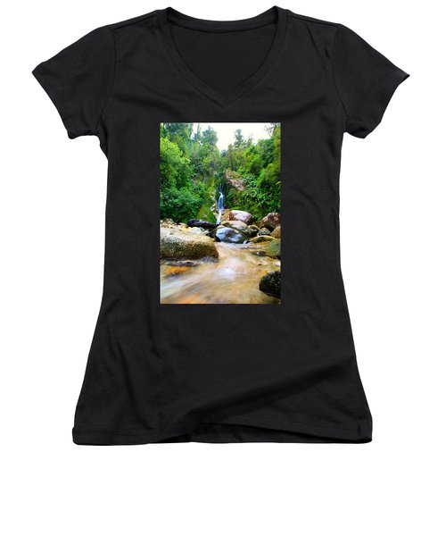 Women's V-Neck T-Shirt (Junior Cut) featuring the photograph Rainforest Stream New Zealand by Amanda Stadther