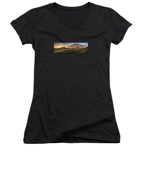 Rainier Golden Light Sunset Meadows Women's V-Neck T-Shirt (Junior Cut) by Mike Reid