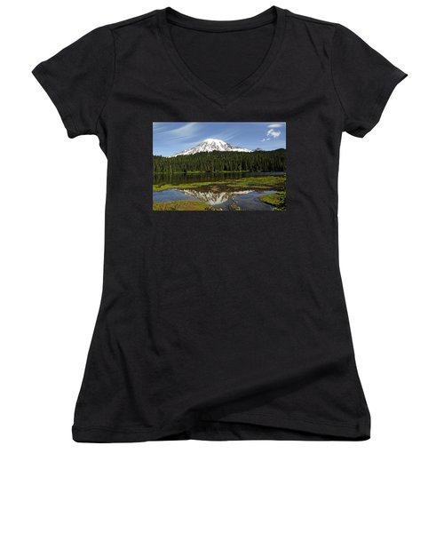 Women's V-Neck T-Shirt (Junior Cut) featuring the photograph Rainier's Reflection by Tikvah's Hope