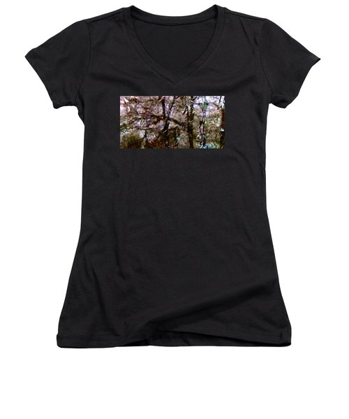 Women's V-Neck T-Shirt (Junior Cut) featuring the photograph Rainscape - Rain On The Window Series 3 Abstract Photo by Marianne Dow