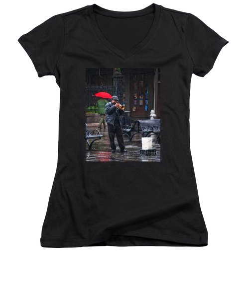 Rainy Day Blues New Orleans Women's V-Neck T-Shirt (Junior Cut) by Kathleen K Parker