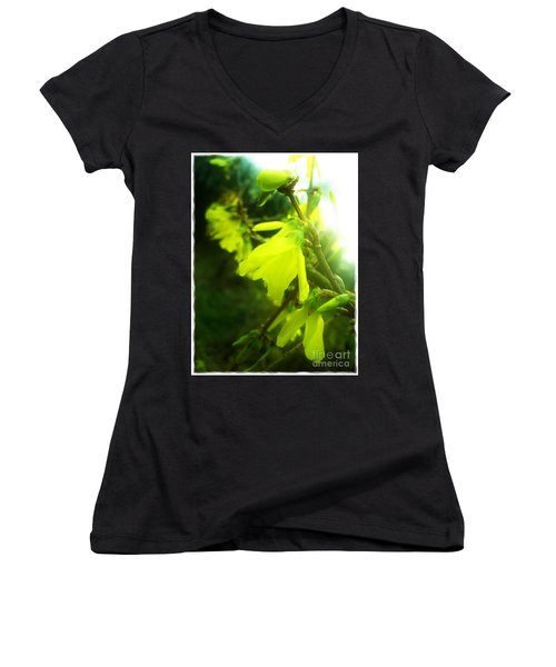 Women's V-Neck T-Shirt (Junior Cut) featuring the photograph Rainy Dream by Nina Ficur Feenan