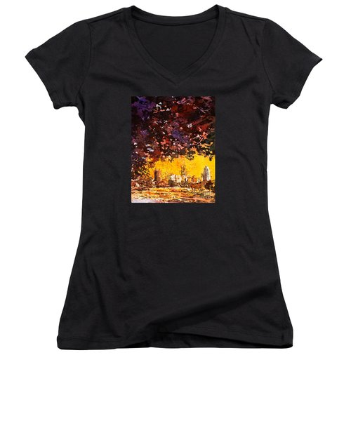 Raleigh Downtown Women's V-Neck T-Shirt (Junior Cut) by Ryan Fox
