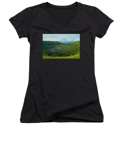 Rano Kau Kau Crater Women's V-Neck T-Shirt