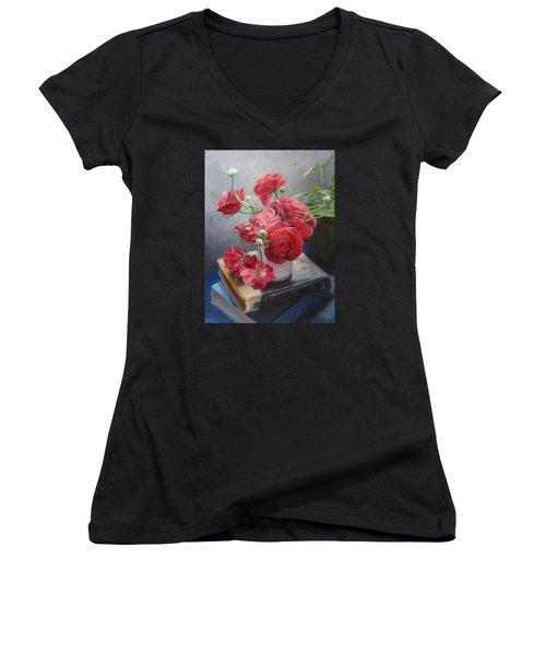 Ranunculus On Books Women's V-Neck T-Shirt