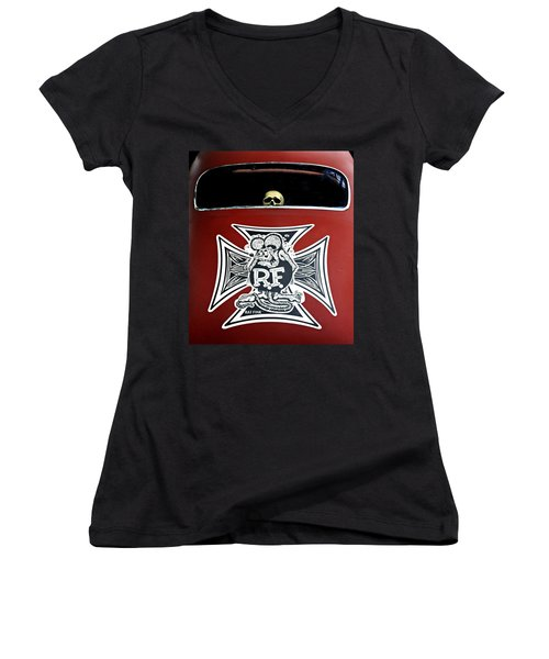 Rat Fink Big Daddy Roth Women's V-Neck T-Shirt (Junior Cut) by Dave Mills