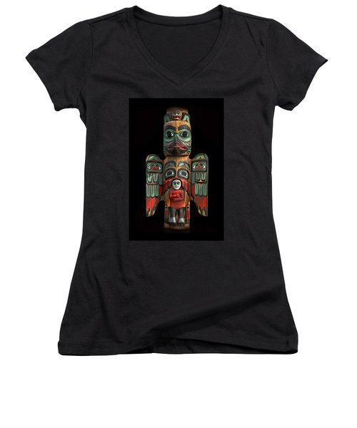 Raven And Saxman Totem Women's V-Neck T-Shirt