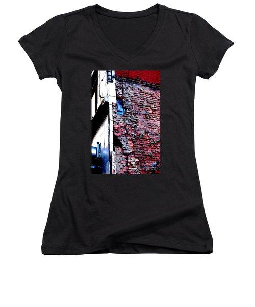 Women's V-Neck T-Shirt featuring the photograph Raw Brick Bones by Christiane Hellner-OBrien