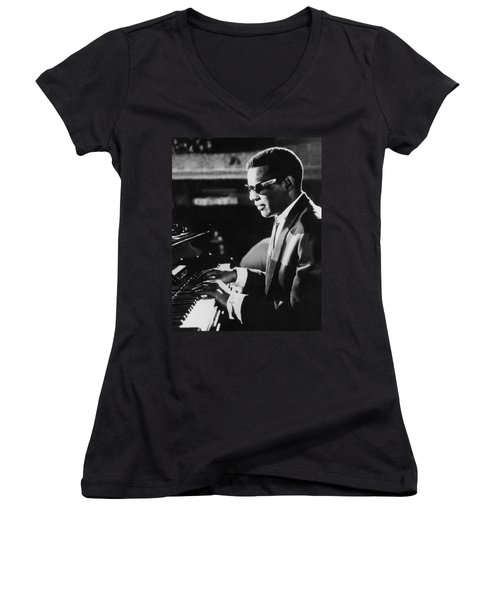 Ray Charles At The Piano Women's V-Neck (Athletic Fit)