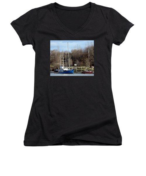 Raymond Fishing Boats Women's V-Neck T-Shirt (Junior Cut)