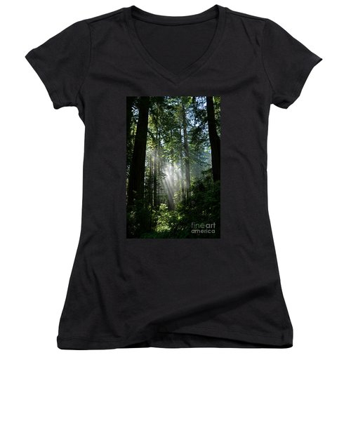 Rays In Redwoods Women's V-Neck T-Shirt