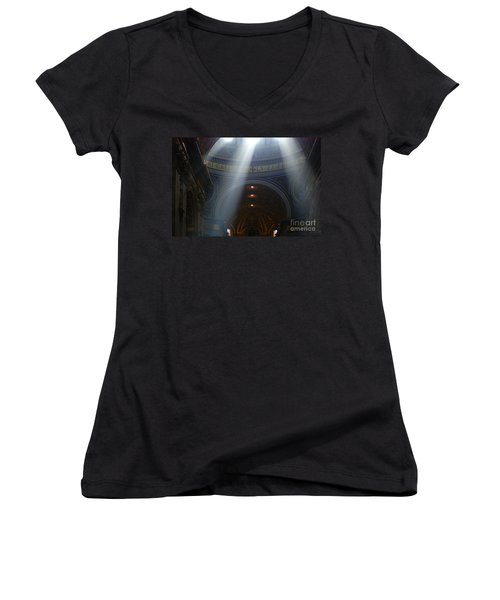 Rays Of Hope St. Peter's Basillica Italy  Women's V-Neck T-Shirt (Junior Cut) by Bob Christopher