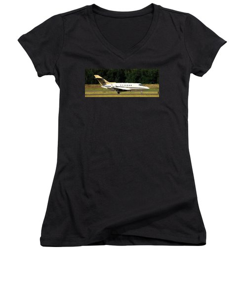 Women's V-Neck T-Shirt (Junior Cut) featuring the photograph Raytheon Hawker 800xp by Aaron Berg