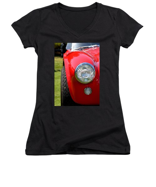 Women's V-Neck T-Shirt (Junior Cut) featuring the photograph Red Ac Cobra by Dean Ferreira