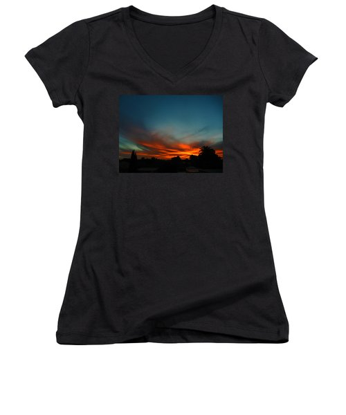Red And Green Sunset Women's V-Neck (Athletic Fit)