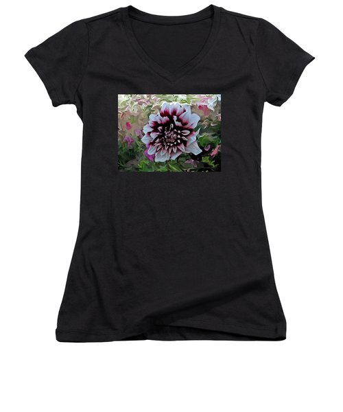 Red And White Dahlia  Women's V-Neck (Athletic Fit)
