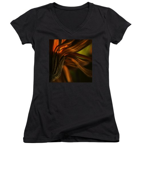 Women's V-Neck T-Shirt (Junior Cut) featuring the photograph Red Autumn Blossom Detail by Peter v Quenter
