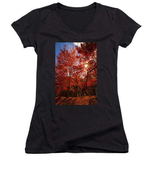 Women's V-Neck T-Shirt (Junior Cut) featuring the photograph Red Autumn Leaves by Jerry Cowart