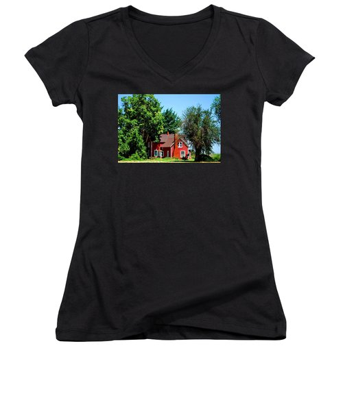 Women's V-Neck T-Shirt (Junior Cut) featuring the photograph Red Barn And Trees by Matt Harang