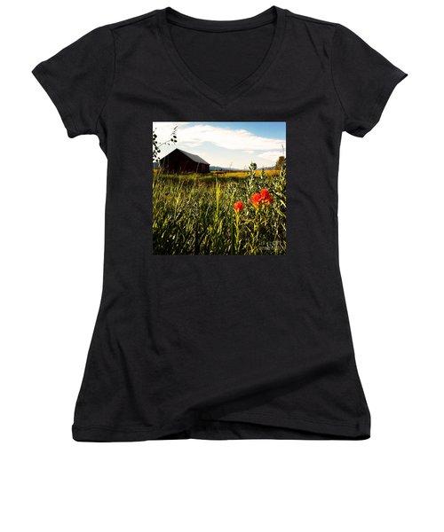 Women's V-Neck T-Shirt (Junior Cut) featuring the photograph Red Barn by Meghan at FireBonnet Art