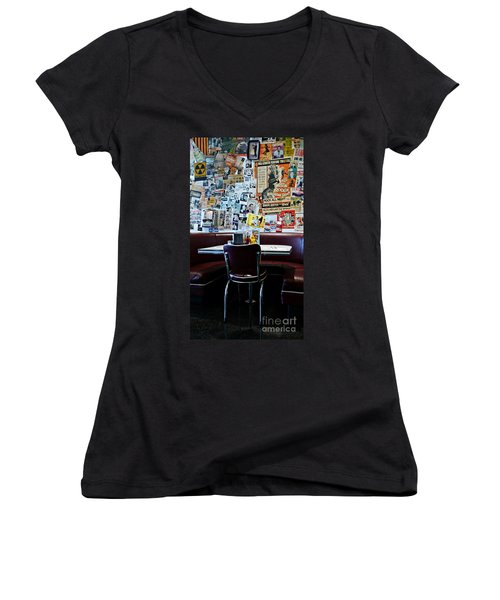 Red Booth Awaits In The Diner Women's V-Neck T-Shirt
