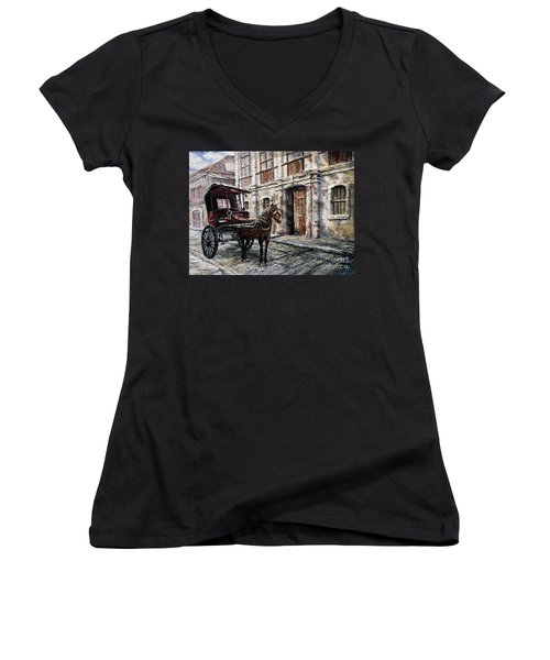 Red Carriage Women's V-Neck T-Shirt (Junior Cut) by Joey Agbayani
