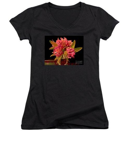 Red Clover 1 Women's V-Neck T-Shirt