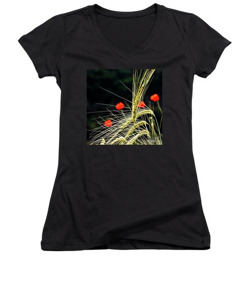 Women's V-Neck featuring the photograph Red Corn Poppies by Heiko Koehrer-Wagner