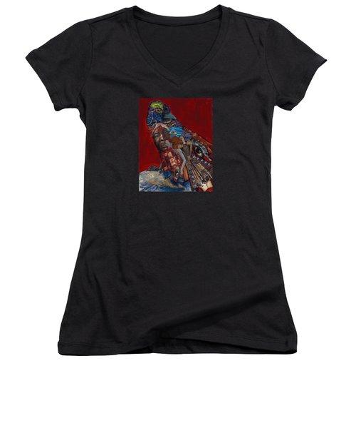 Red Crow Women's V-Neck T-Shirt (Junior Cut) by Emily McLaughlin