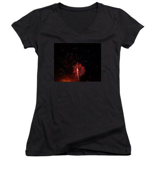 Women's V-Neck T-Shirt (Junior Cut) featuring the photograph Red Dahlia by Amar Sheow