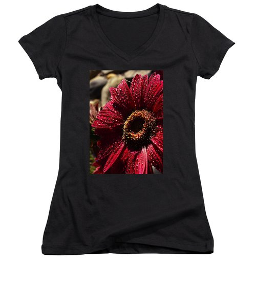 Women's V-Neck T-Shirt (Junior Cut) featuring the photograph Red Dew by Joe Schofield