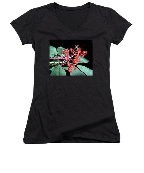 Red Elderberry Women's V-Neck (Athletic Fit)