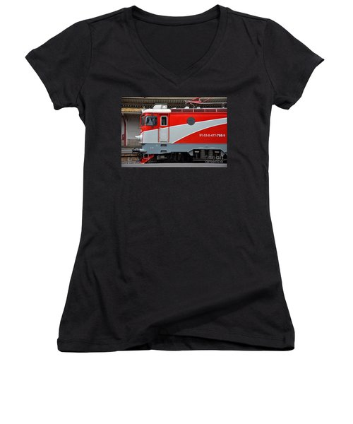 Women's V-Neck T-Shirt (Junior Cut) featuring the photograph Red Electric Train Locomotive Bucharest Romania by Imran Ahmed