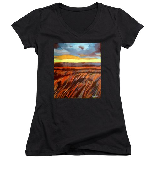 Women's V-Neck T-Shirt (Junior Cut) featuring the painting Red Field by Helena Wierzbicki