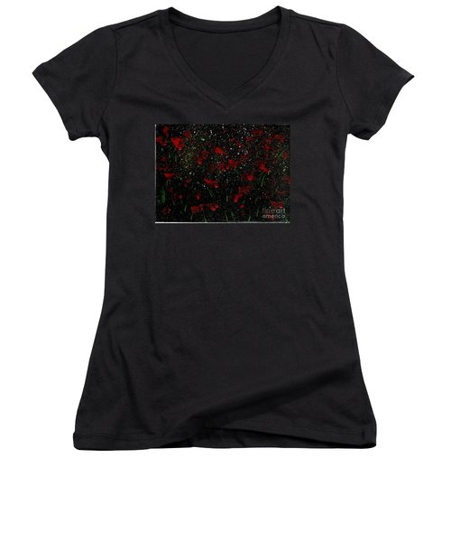 Women's V-Neck T-Shirt (Junior Cut) featuring the painting Red Flowers In Twilight  by Becky Lupe