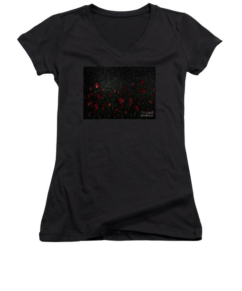 Women's V-Neck T-Shirt (Junior Cut) featuring the painting Red Flowers In Moonlight by Becky Lupe