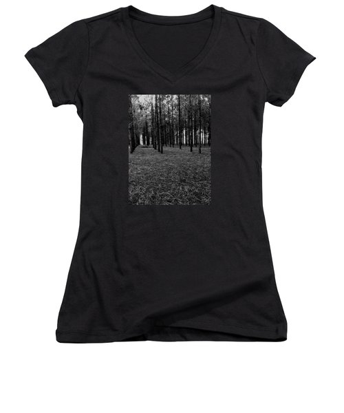 Red Forest In Black And White Women's V-Neck (Athletic Fit)