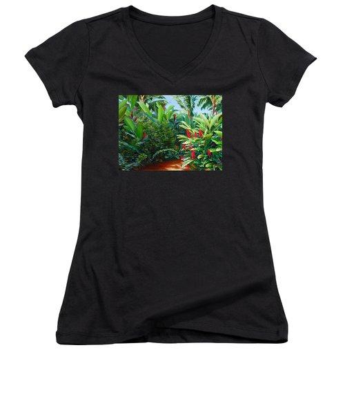 Tropical Jungle Landscape - Red Garden Hawaiian Torch Ginger Wall Art Women's V-Neck