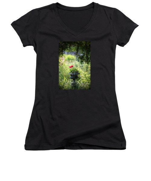 Red Geranium Women's V-Neck T-Shirt (Junior Cut) by John Stuart Webbstock