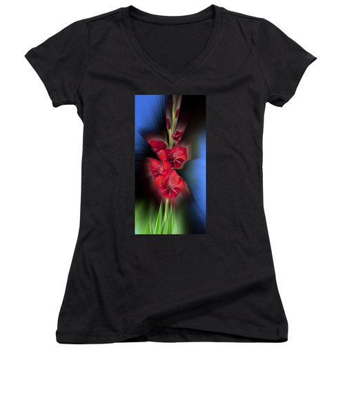 Women's V-Neck T-Shirt (Junior Cut) featuring the photograph Red Gladiola by Mark Greenberg