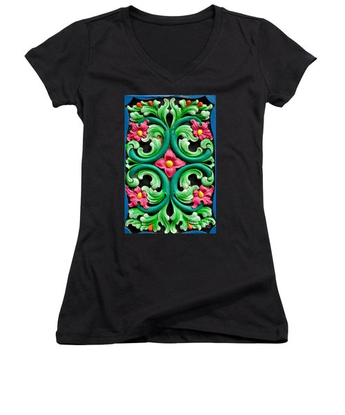 Red Green And Blue Floral Design Singapore Women's V-Neck T-Shirt