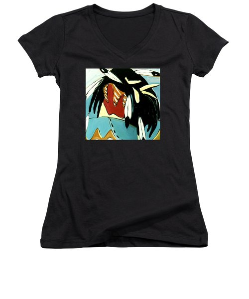 Women's V-Neck T-Shirt (Junior Cut) featuring the painting Red Indian by Lance Headlee
