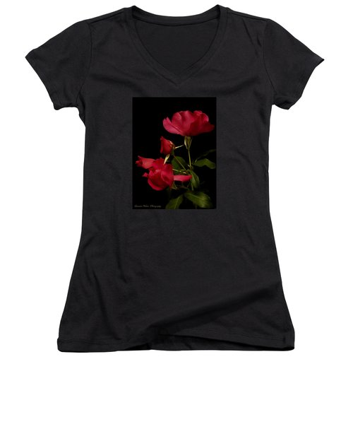 Women's V-Neck T-Shirt (Junior Cut) featuring the photograph Red Is For Passion by Lucinda Walter