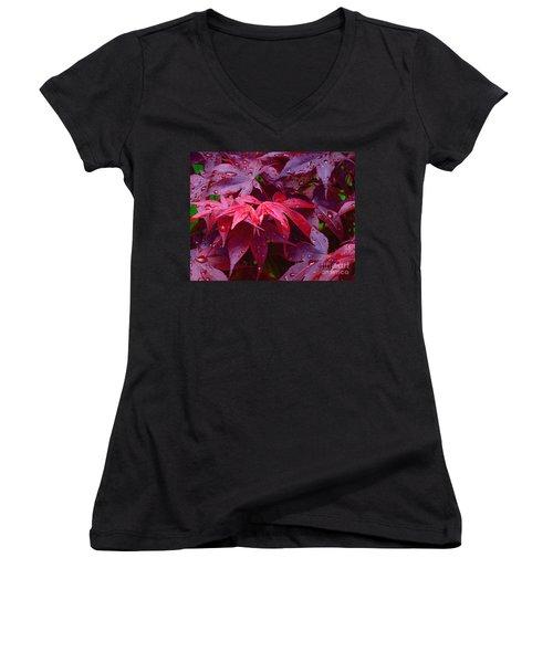 Women's V-Neck T-Shirt (Junior Cut) featuring the photograph Red Maple After Rain by Ann Horn