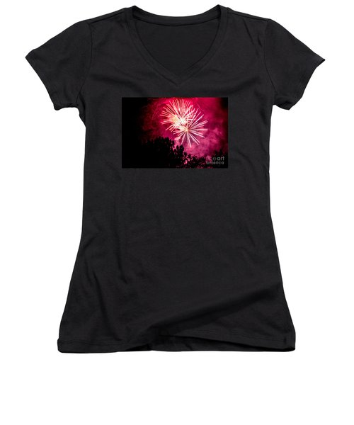 Women's V-Neck T-Shirt (Junior Cut) featuring the photograph Red Night by Suzanne Luft