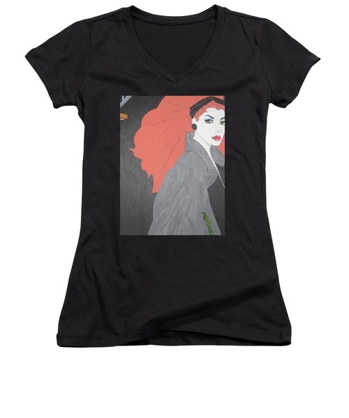 Women's V-Neck T-Shirt (Junior Cut) featuring the painting RED by Nora Shepley